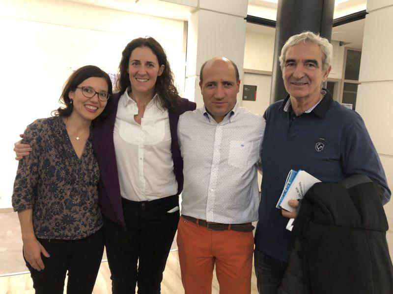 Photo de Jérôme Adam avec Laurence Fischer, Marielle Durand et Raymond Domenech à l'ESSEC