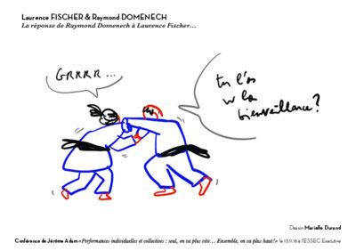 dessin de Marielle Durand montrant Laurence Fischer et Raymond Domenech en plein combat de karaté